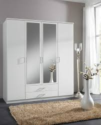 Bedroom Furniture Wardrobes German Berlin White 4 Door Mirror Door Wardrobe Amazon Co Uk