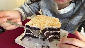 asmr eating german chocolate cake white chocolate and toasted