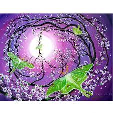 original painting peace sign tree moths purple ad 1219212