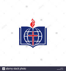 Flag With Bible Church Logo Cross Of Jesus Open Bible And Christian Symbols