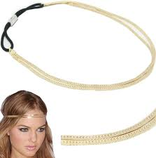 elastic hairband black faux leather braid elastic stretch headband