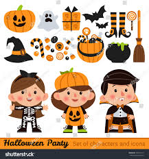 cartoon halloween pic vector set characters icons halloween cartoon stock vector