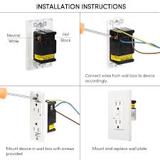 gfci receptacle with indicator light 15 amp gfci receptacles dual ac outlets surge protected 2 wall