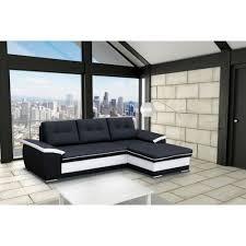 canapé d angle en simili cuir meublesline canapé d angle moderne 4 places noir blanc