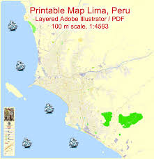 lima map lima editable pdf map peru exact map city plan level g view 17