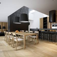 black kitchen pendant lights wooden dining table with upholstered chair black backless bar