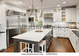 kitchen interior island sink cabinets hardwood stock photo