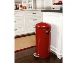 kitchen island trash bin interior stainless steel simplehuman trash cans in red with dark