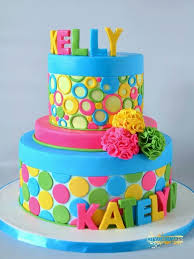 bright colourful cake party kids colourful cake