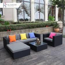 h u0026l patio 6 piece wicker sectional sofa set with ottoman and