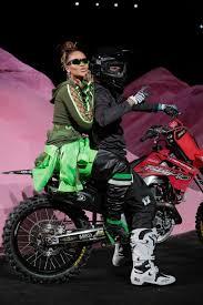 win a motocross bike rihanna rides into her nyfw show on the back of a motocross bike