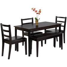 best choice products wood 5 piece dining table set w bench 3 chairs