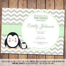 chevron baby shower invitation penguin baby shower invitation