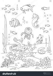 ocean bottom coloring book page doodle stock vector 525526234