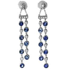 fabulous earrings and co jazz sapphire diamond platinum drop