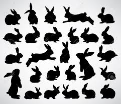 collection of rabbit silhouettes royalty free cliparts vectors