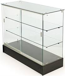 glass counter display cabinet 4 glass counter black melamine base