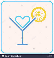 summer party cocktail lemon heart symbol as love summer holiday
