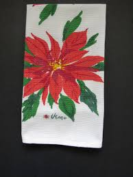 designer kitchen towels 1960s vera neumann tea towel red poinsettias dish kitchen