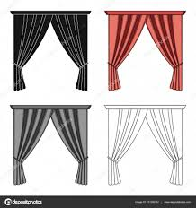 Curtain Cartoon by Curtains With Drapery On The Cornice Curtains Single Icon In