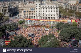 anti independence catalan protestors during a demonstration for