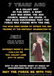 star wars inspired jedi training birthday party invitations