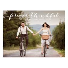 wedding thank you postcards forever thankful white script wedding thank you postcard