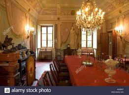 dining room in an ornate italian villa in tuscany with antique