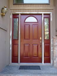exterior inspiring front door design with red brown wood single