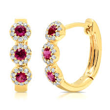 14kt gold earrings 14kt gold ruby and diamond halo hoop earrings wedding bands co