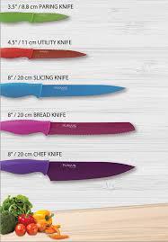 kitchen knife set with colour coding 5 piece coloured knives set