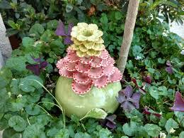 Ceramic Garden Art Garden Decor Ceramic Flower Sculpture Yard Stake Outdoor Art