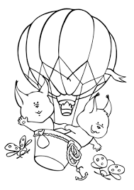 squirrels fly aerostat balloon coloring free