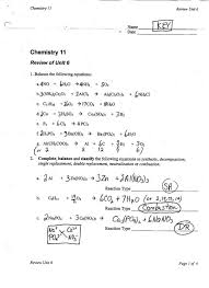 types of chemical reactions worksheet chemical reactions and