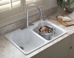 Overmount Kitchen Sinks Astounding White Color Drop In Sink Come With Bowl White
