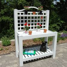 white vinyl outdoor potting bench with trellis made in usa