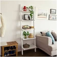 3 piece white leaning ladder bookshelf with laptop desk white