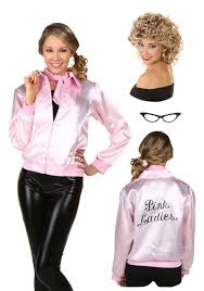 grease lightning halloween costumes womens grease pink ladies jacket and sandy wig