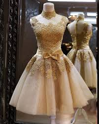 modest homecoming dress lace tulle gold cocktail dresses