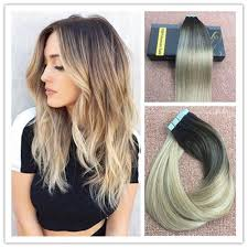 salt and pepper tape in hair extentions balayage multi toned ash blonde to platium blonde tape in human