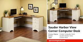 Sauder Harbor View Corner Computer Desk In Antiqued Paint Sauder Harbor View Corner Computer Desk Review Space Saving Desk