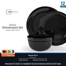 mainstays amelia 12 piece solid color dinnerware set walmart com