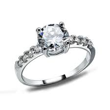 White Gold Cz Wedding Rings by Sterling Silver Jewelry Heart Ring Cz Diamond Wedding Engagement