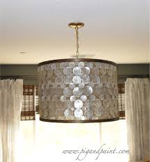 Chandelier Covers Sleeves How To Make A Diy Designer Capiz Drum Shade Chandelier A La Oly