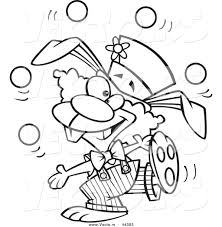 vector of a talented cartoon bunny clown juggling coloring page