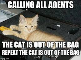 Meme Bag - calling all agents the cat is out of the bag repeat the cat is out