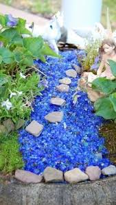 Fairies For Garden Decor Juise Fairy Garden Tree Bark Bridge With Blue Pebble River