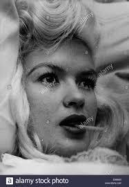 close up of actress jayne mansfield smoking a cigarette stock