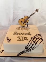 music guitar 21st cake for a guy man boy by heavenly