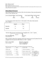direct object pronoun notes and practice spanish worksheet by